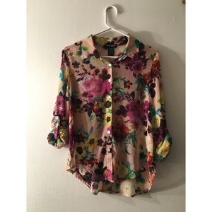 Shear Floral Button Up